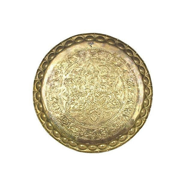 Mid-Century Moroccan Brass Tray For Sale - Image 4 of 5