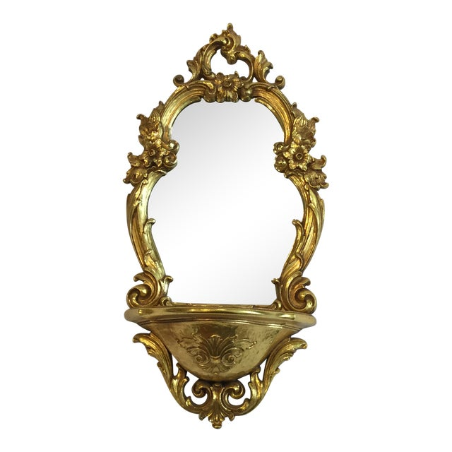 Mid Century Gilt Mirror and Wall Bracket by Dart For Sale