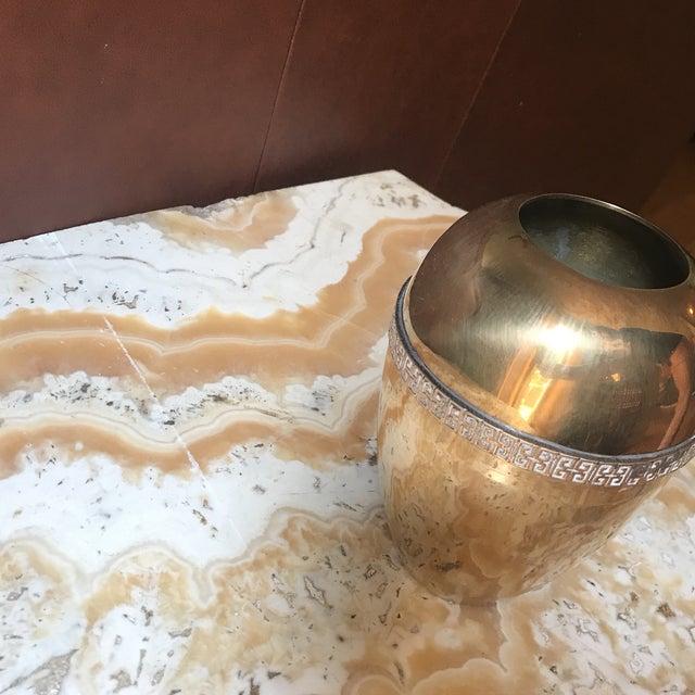 Modern 1970s Modernist Brass Greek Key Vase For Sale - Image 3 of 5