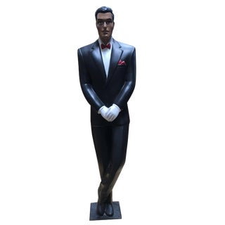 Art Deco Revival Carved Metal Hotel Butler Greeter Statue For Sale