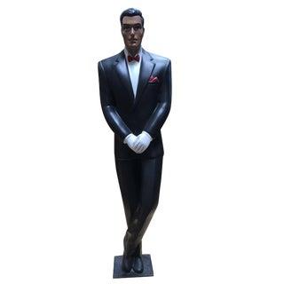 Art Deco Revival Carved Wood Hotel Butler Greeter Statue For Sale