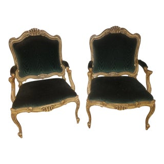 Antique Victorian Forest Green Velvet Chairs - a Pair For Sale
