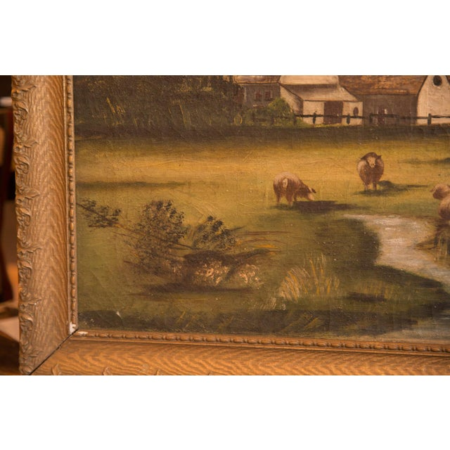 Old New House Sheep Grazing Antique Painting For Sale - Image 4 of 11