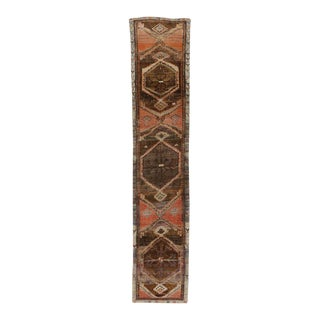 Vintage Turkish Oushak Runner with Mid-Century Modern Style For Sale