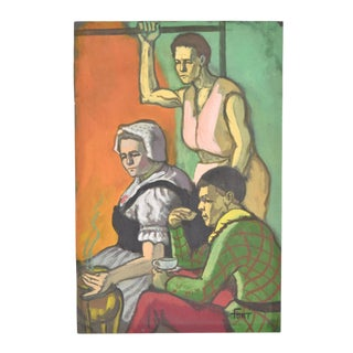 """1950s Vintage """"Dutch Lady With Jester"""" Dick Fort Gouache Painting For Sale"""