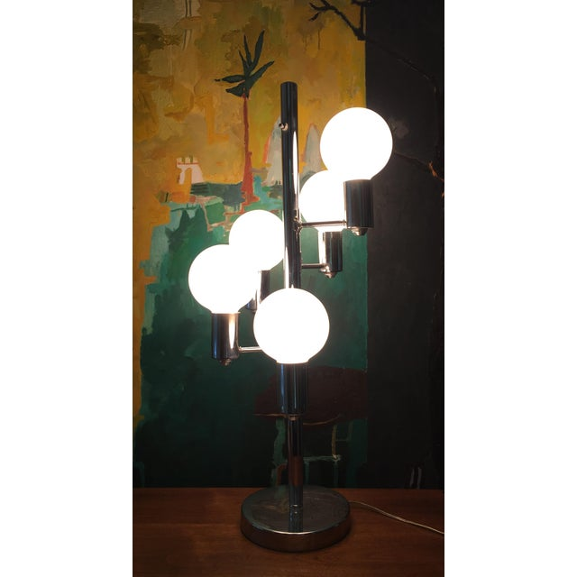 Silver Mid Century Chrome Waterfall 5 Globe Lamp For Sale - Image 8 of 10