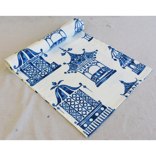 """Chinoiserie Blue & White Pagoda Table Runner 110"""" Long For Sale In Los Angeles - Image 6 of 7"""