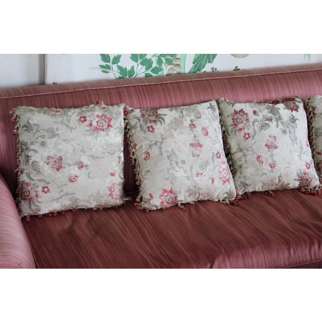 Silk Vintage Italian/French Silk Down Embroidered Down Pillows - Set of 5 For Sale - Image 7 of 9