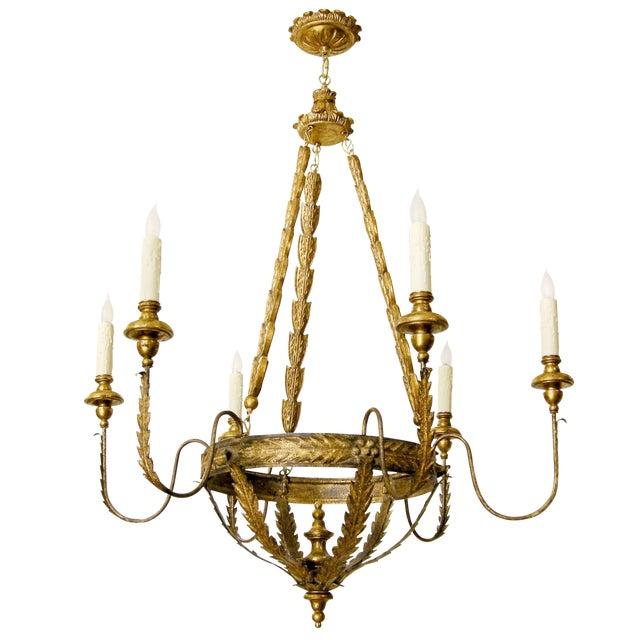 Elegant Milano Italian Six Arm Chandelier by Randy Esada Designs Inc For Sale