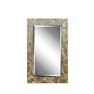 Contemporary 48 X 32 Crackled Mother of Pearl Mosaic Inlay Decorator Wall Mirror For Sale