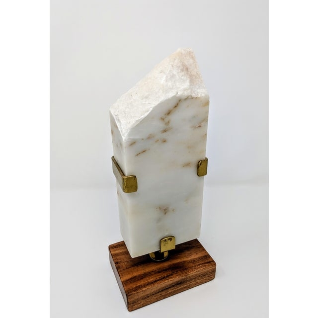 White Marble, Brass and Wood Sculpture For Sale - Image 10 of 11