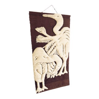 Vintage 70s Latch Hook Embroidery Bird Wall Hanging For Sale