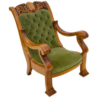 Massive Carved Oak Victorian Armchair / Gentleman's Chair For Sale