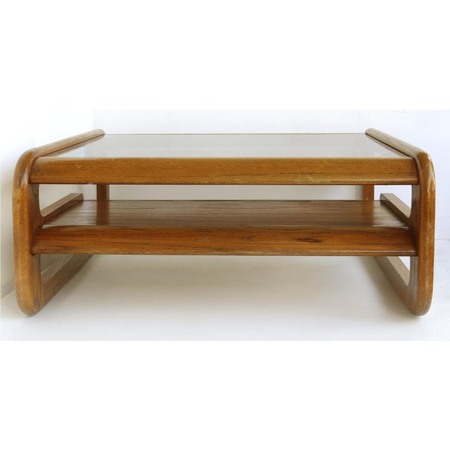 Lou Hodges Lou Hodges Mid-Century Modern California Coffee Table With Inset Glass For Sale - Image 4 of 8