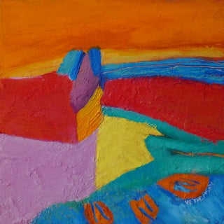 """Original """"Sunset Jetty"""" Abstract Oil Painting For Sale"""