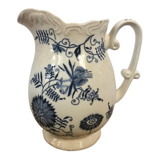 Late 19th Century Blue Danube Inspired Floral Ironstone Transferware Pitcher For Sale
