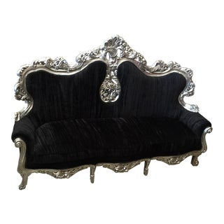Black & Silver Rococo Style Throne Sofa For Sale