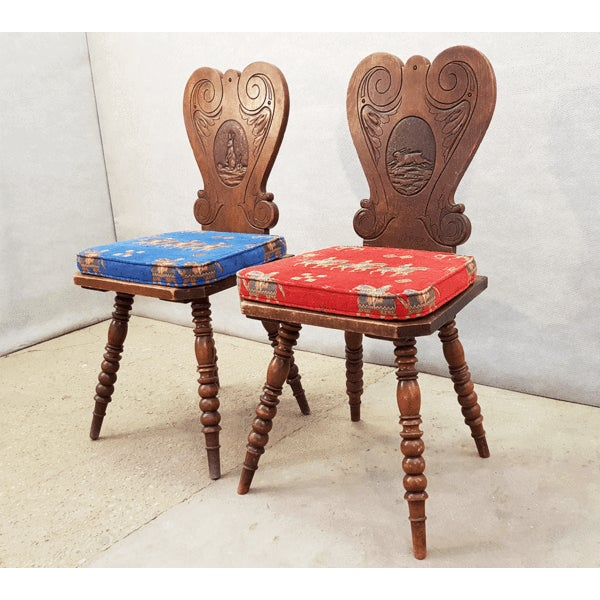 French Charming Very Cute Alpine Chalet Style French Alps Rustic Side Chairs For Sale - Image 3 of 13