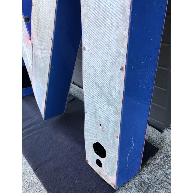 """Large Vintage Blue & White Enamel """"M"""" Building Signage For Sale - Image 10 of 12"""