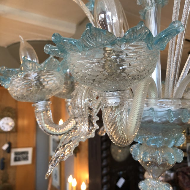 1930s Italian Vintage Art Deco Murano Glass Daffodil and Leaf Chandelier For Sale - Image 4 of 12