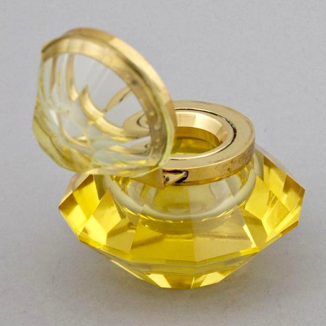 Art Deco Faceted Gold Glass Inkwell - Image 5 of 5