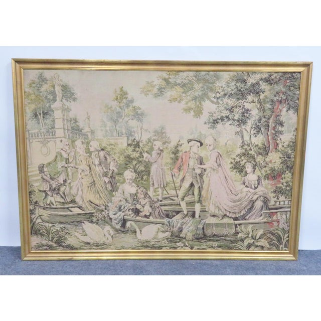 Mid 20th Century Large French Style Courtyard Tapestry For Sale - Image 5 of 5