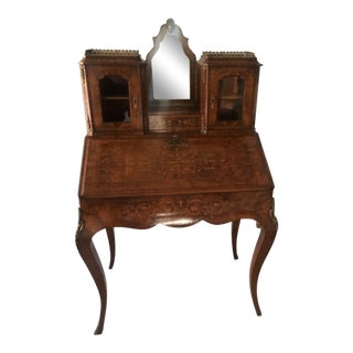 Antique French Louis XV Style Floral Marquetry Secretary Desk For Sale