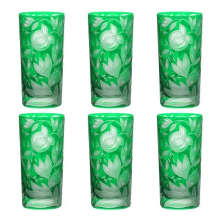 Verdure Highball Glasses, Set of 6, Emerald For Sale