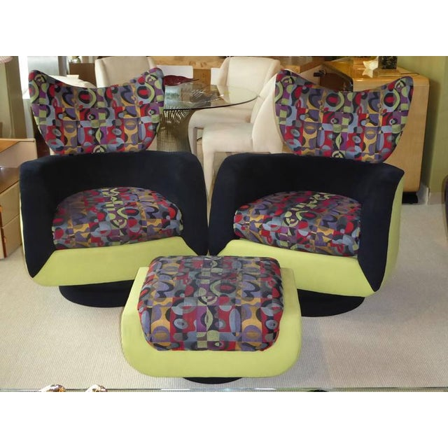 Pair of Vladimir Kagan Lounge Chairs for Directional with Ottoman - Image 2 of 9
