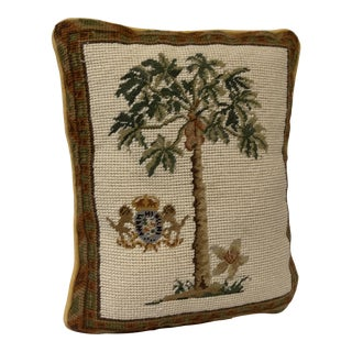 Needlepoint Palm Tree Pillow Coat of Arms For Sale