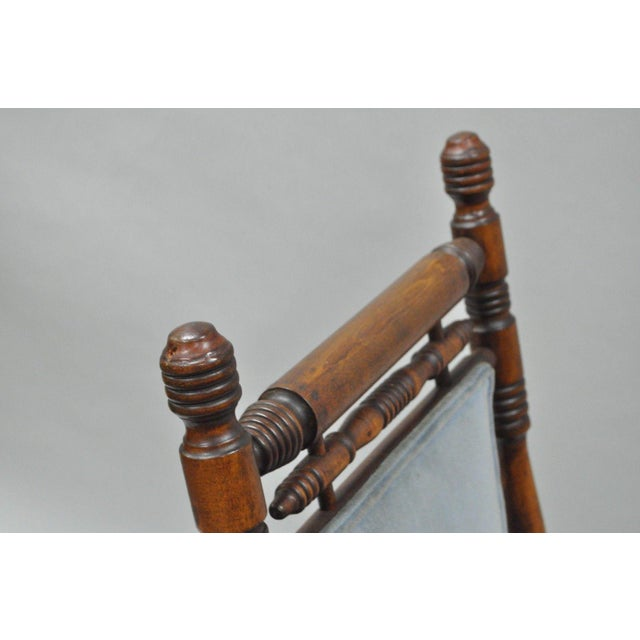 Antique Eastlake Victorian Turned Walnut Blue Platform Rocking Chair For Sale - Image 10 of 11