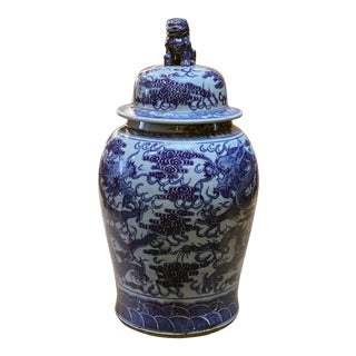 Chinese Large Blue & White Dragons Porcelain General Temple Jar For Sale