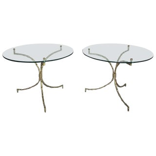 1940s French Bagues Bronze Faux Bamboo Tripod Tables - a Pair