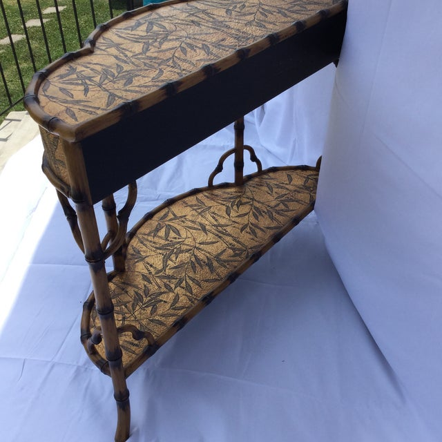 1990s Gold and Faux Burnt Bamboo Console Table For Sale - Image 5 of 10