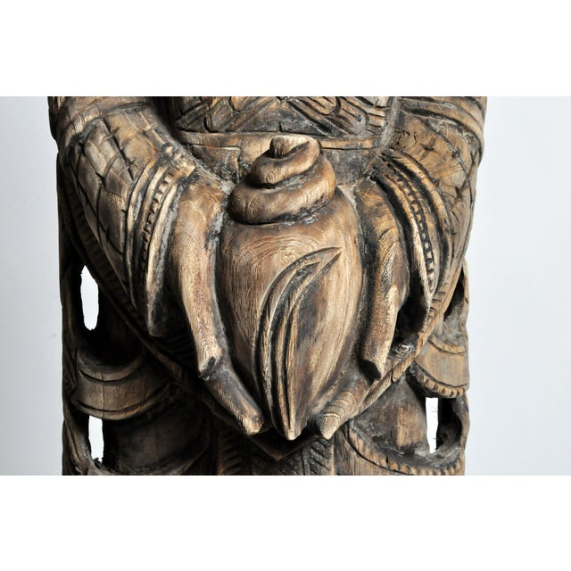 Contemporary Hand-Carved Teak Wood Blessing Angel For Sale - Image 9 of 12