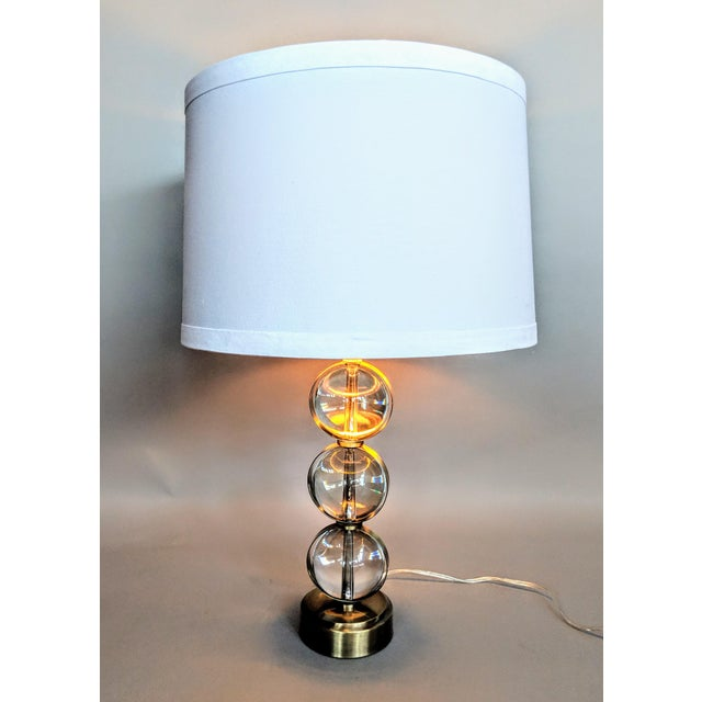 Global Views Crystal Ball Lamp in Brass With Linen & Gold Lined Shade - a Pair For Sale - Image 12 of 13