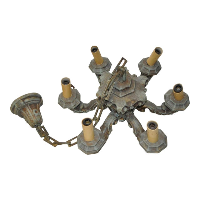 1930s Six Arm Composite Chandelier with Chain & Cap Circa 1930s For Sale - Image 5 of 5