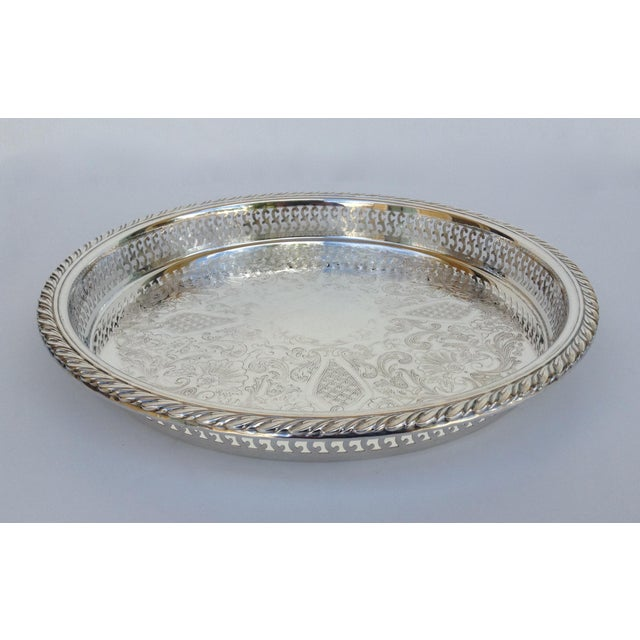 Vintage; 1970s era, Oneida silver plated pierced Celtic style engraved platter or server tray with raised surround....