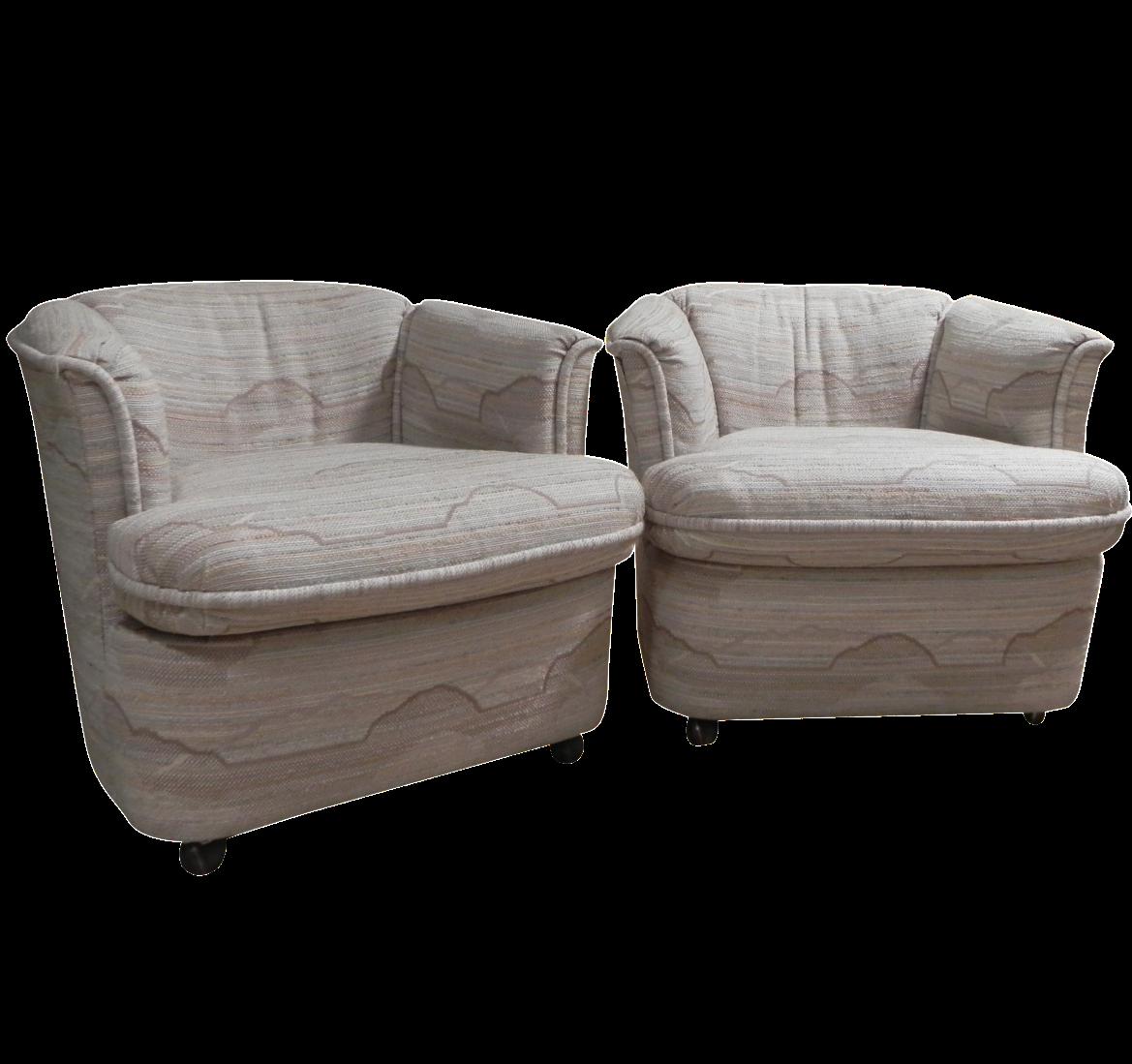Drexel Contemporary Classics Barrel Chairs   Pair