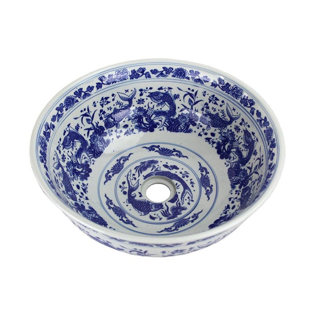 French Pasargad DC Modern White and Blue Motif Sink Bowl For Sale - Image 3 of 8