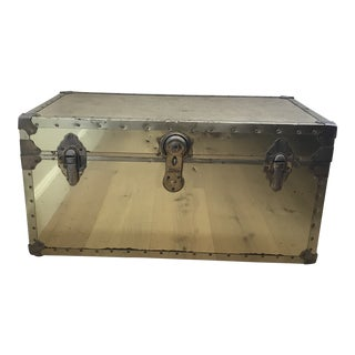 1970s Boho Chic Brass Gold Steamer Trunk Chest