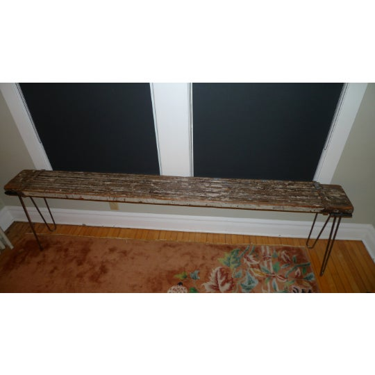 Sofa Table, Console, Entryway Table From Industrial Painter's Scaffold on Steel Hairpin Legs For Sale - Image 11 of 11