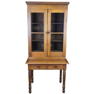 19th Century Antique Walnut Bookcase With Desk For Sale