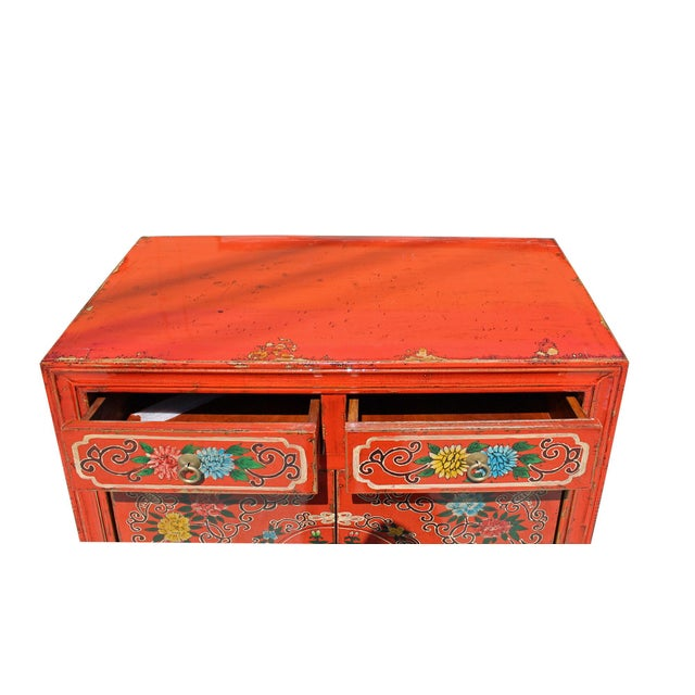 Chinese Distressed Orange Red Flower Graphic Table Cabinet For Sale In San Francisco - Image 6 of 8