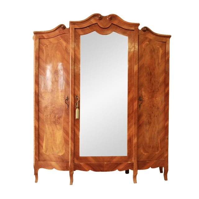 1870's Burled and Inlaid French Knockdown Wardrobe For Sale - Image 13 of 13