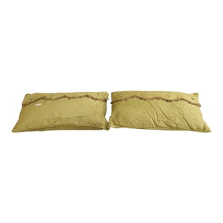 Large Rectangular Light Green Decorative Pillows - A Pair For Sale