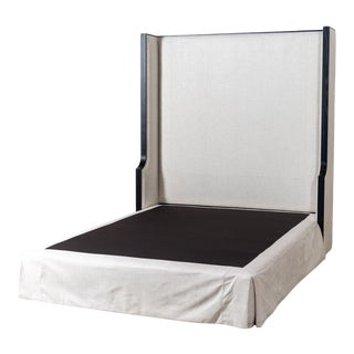 Upholstered Queen Bed Oatmeal Linen For Sale