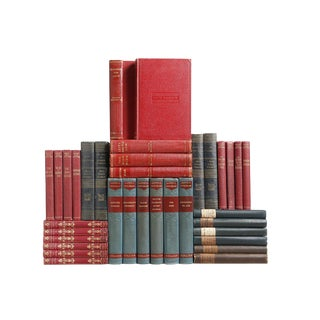 Vintage Prussian Blue and Crimson Books, S/35 Custom Set For Sale