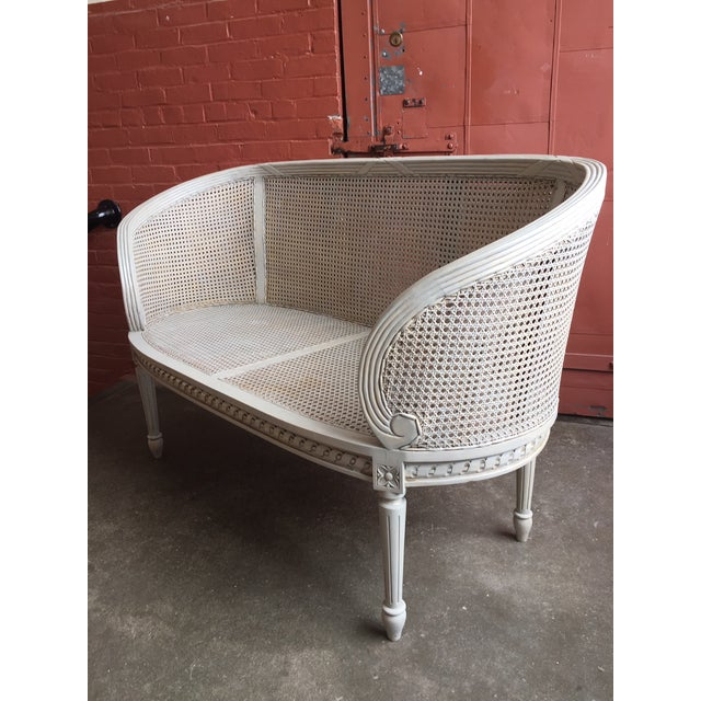 Gray Late 20th Century White Caned Settee For Sale - Image 8 of 10