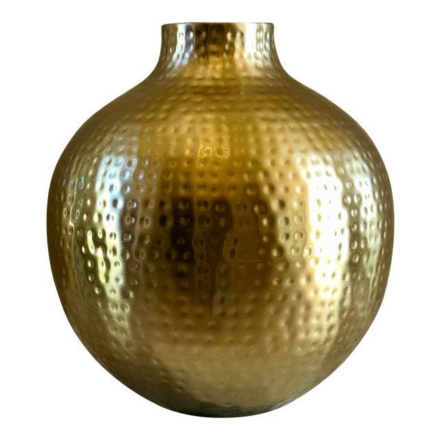 20th Century Hollywood Regency Round Hammered Vase Chairish